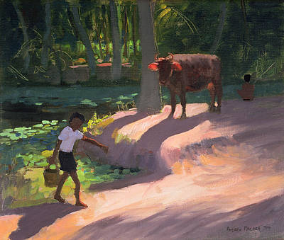 Cow Boy Painting - Kerala Backwaters by Andrew Macara