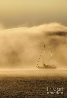 Ketch In Mist Print by Avalon Fine Art Photography
