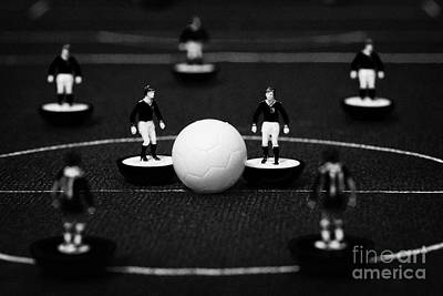 Kick Off Or Restart Football Soccer Scene Reinacted With Subbuteo Table Top Football Players Print by Joe Fox