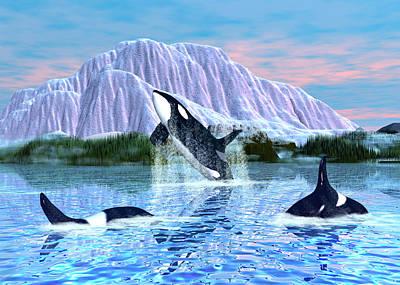 Orca Digital Art - Killer Whales by Walter Colvin