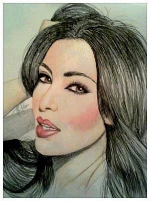 Kim Kardashian Drawing - Kim Kardashian by Kipani Joi Hoskins