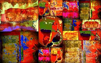 Patchwork Quilts Mixed Media - Kinetic World Paper Quilt by Angela L Walker