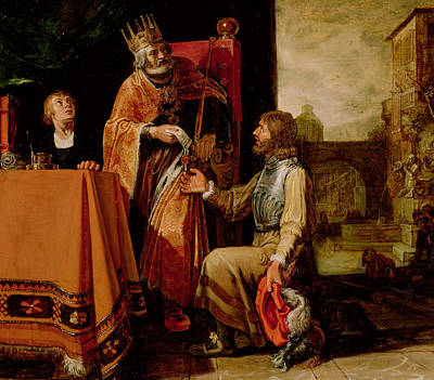 Hand Thrown Painting - King David Handing The Letter To Uriah by Pieter Lastman