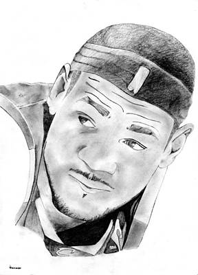 Miami Heat Drawing - King James by  Peter Landis