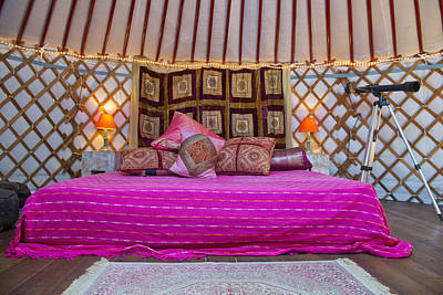 Yurts Photograph - King Size Bed With Bright Colours by Corepics