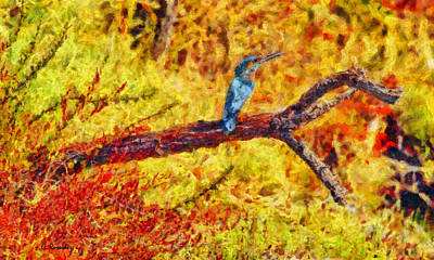 Kingfisher Painting - Kingfisher by George Rossidis