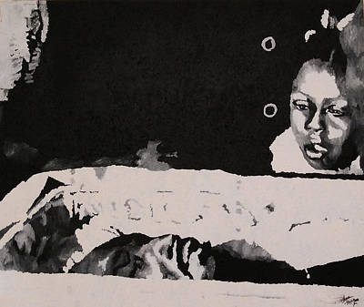 Black History Painting - King's Children Viewing His Body 1968 by Lauren Luna
