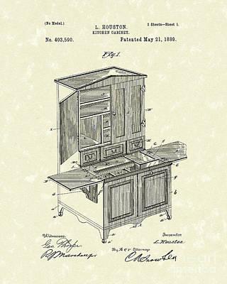 Kitchen Cabinet 1889 Patent Art Print by Prior Art Design