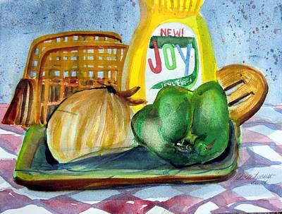 Onion Drawing - Kitchen Joy by Mindy Newman