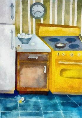 Fries Digital Art - Kitchen With Broken Eggs by Michelle Calkins