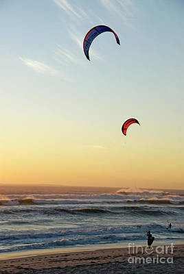 Kite Surfers On Beach At Sunset Print by Sami Sarkis