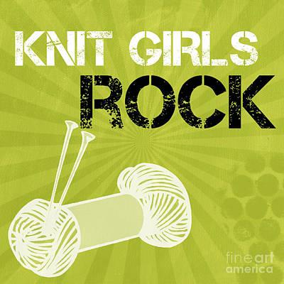 Knitting Mixed Media - Knit Girls Rock by Linda Woods