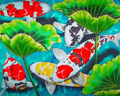 Fish Painting - Koi And Lotus by Daniel Jean-Baptiste