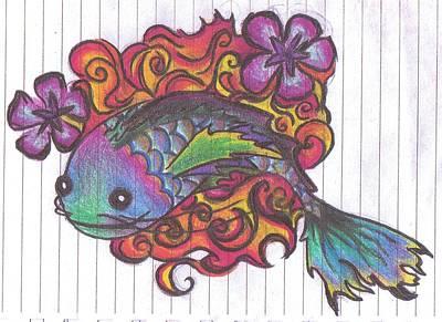 Catfish Drawing - Koi Fish by Stephanie Ellison