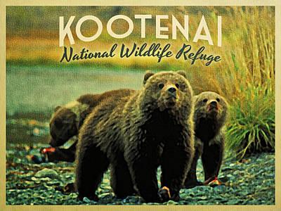 Bear Digital Art - Kootenai Wildlife Refuge Bears by Flo Karp