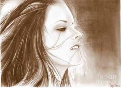 New Moon Drawing - Kristen Stewart - Sepia by Crystal Rosene
