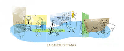 Jazz Digital Art - La Bande D'etang by Sean Hagan