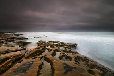 Long Exposure Photograph - La Jolla Reef Sunset 5 by Larry Marshall