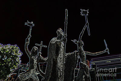 Rogativa Digital Art - La Rogativa Statue Old San Juan Puerto Rico Glowing Edges by Shawn O'Brien