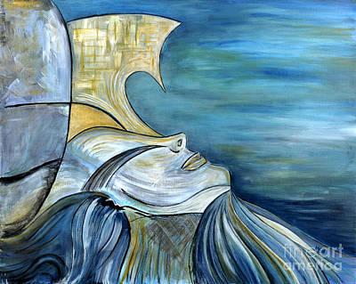 Beautiful Mysterious Blue Woman Portrait La Sirene French For Mermaid Mythic Siren Original Painting Print by Marie Christine Belkadi
