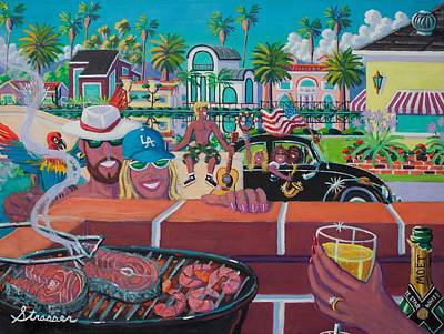 Grill Painting - Labor Day Venice Style by Frank Strasser