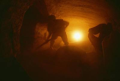 Ankh Photograph - Laborers Clear Rubble From The Tomb by Kenneth Garrett
