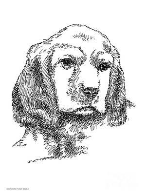 Labrador-portrait-drawing Print by Gordon Punt