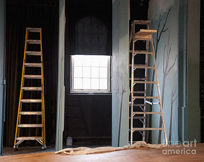 Ladders Offstage In A Theatre Print by Thom Gourley/Flatbread Images, LLC