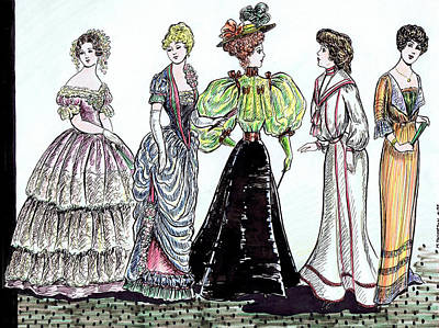 Hoop Skirt Drawing - Ladies Of Fashion 1860 To 1910 by Mel Thompson