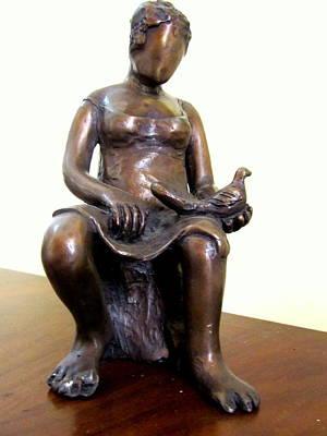 Lady Bird Bronze Sculpture Of A Woman Sitting Holding A Bird With A Dress Face Blurred Strong Legs Print by Rachel Hershkovitz