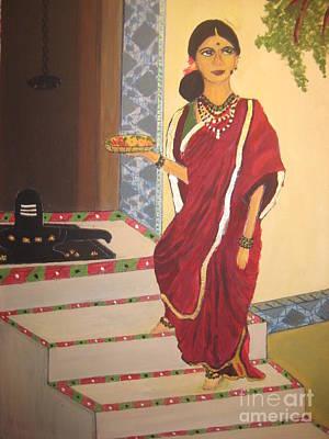 Ravi Painting - Lady Going To Pray by Deepa Padmanabhan