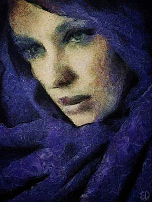 Portrait Digital Art - Lady In Blue by Gun Legler