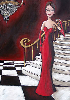 Evening Gown Painting - Lady Of The House by Denise Daffara