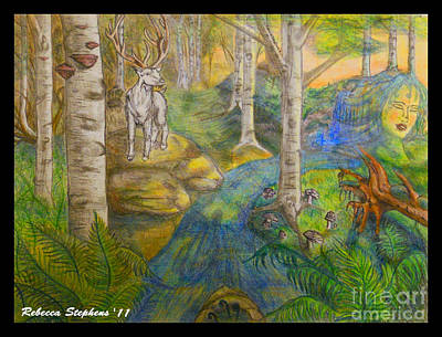 South Drawing - Lady Of The White Birch by Rebecca  Stephens