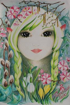 Early Spring Drawing - Lady Spring by Tiina Rauk