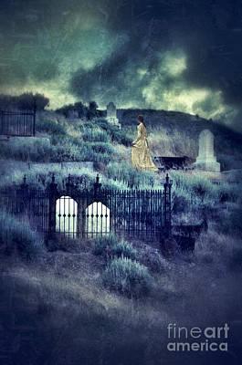 Lady Walking In Cemetery Print by Jill Battaglia