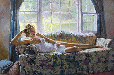 Of Nudes Painting - Lady With A Book by Ylli Haruni