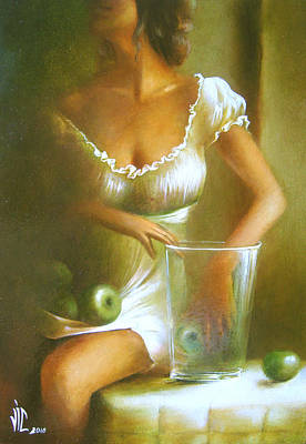 Still Life With Green Apples Painting - Lady With Green Apples by Vali Irina Ciobanu
