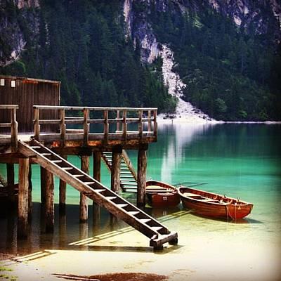 Boat Photograph - Lago Di Braies by Luisa Azzolini