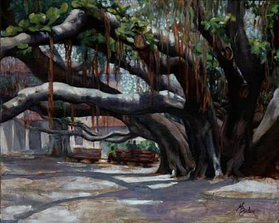 Heather Burton Painting - Lahaina Banyan Tree Morning.  by Heather Burton