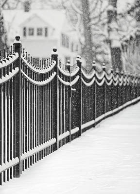 Repetition Photograph - Lake Bluff Illinois, Iron Fence Covered With Snow by Trina Dopp Photography