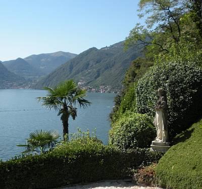 Lake Como Photograph - Lake Como And Statue by Marilyn Dunlap