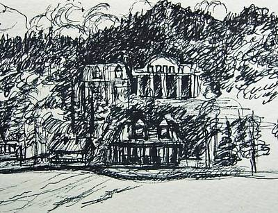 Lake George Shoreline Sketch Print by Nancy Mitchell