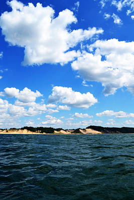 Lake Michigan Shore With Clouds Print by Michelle Calkins