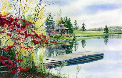 Waterscape Painting - Lakeside Gazebo by Hanne Lore Koehler