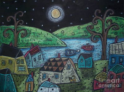 Lakeside Town Print by Karla Gerard