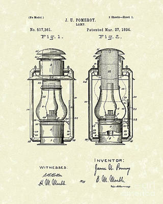 Oil Lamp Drawing - Lamp Pomeroy 1894 Patent Art by Prior Art Design