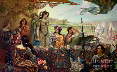 Lancelot And Guinevere Print by Herbert James Draper