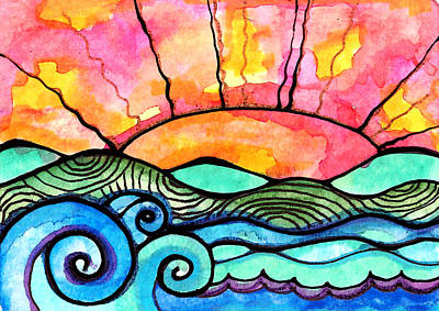 Waves Painting - Lands End by Robin Mead