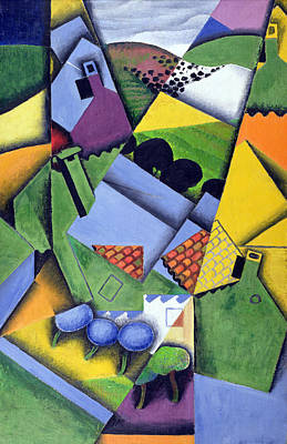 Abstract Collage Painting - Landscape And Houses At Ceret by Juan Gris